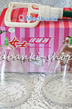 Женские массажные вакуумные банки для груди  с насосом в комплекте  размер L