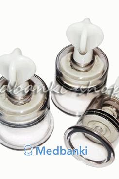 Массажные банки с эргономичным вентилем 4 шт (уценка, без банки диаметра 19 мм)