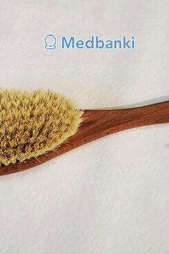 Щетка для сухого массажа на длинной ручке, Кактус Бук 39 см