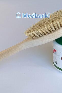 Щетка для сухого массажа из натуральной щетины 30 см и кокосовое масло 500 мл