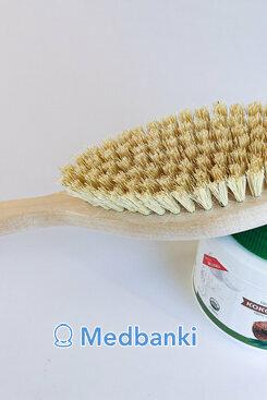 Щетка для сухого массажа кактус 30 см и кокосовое масло 500 мл