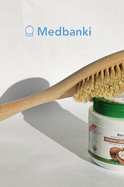Щетка на длинной ручке из натуральной щетины Бук 39 см и кокосовое масло 500 мл